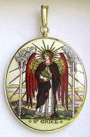 Archandělé Uriel a Michael oboustranně malovaný medailon
