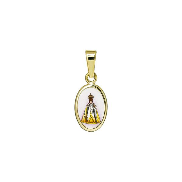 011H white Infant Jesus of Prague miniature medal