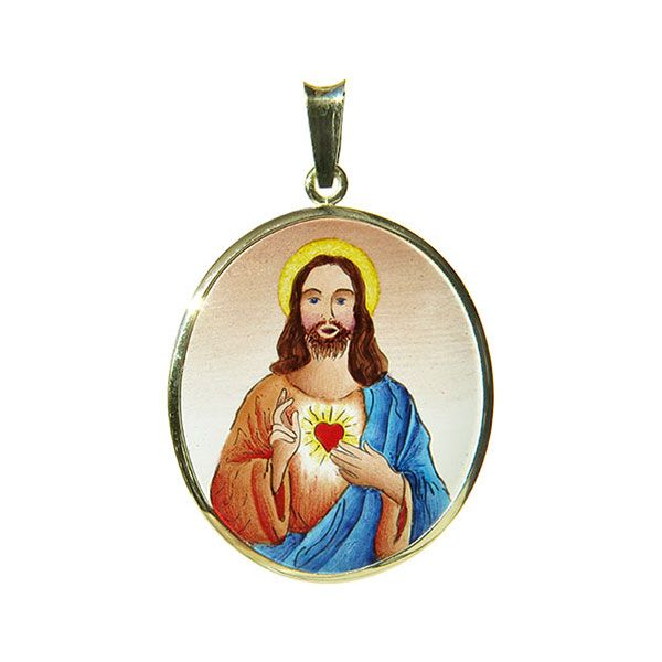 399H Sacred Heart of Jesus Medal blue