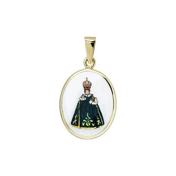 185H green Holy Child of Prague Medal