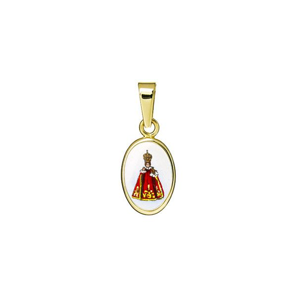 011 red Holy Child of Prague miniature medal