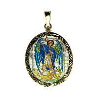 Archandělé Uriel a Michael oboustranně malovaný gravírovaný medailon